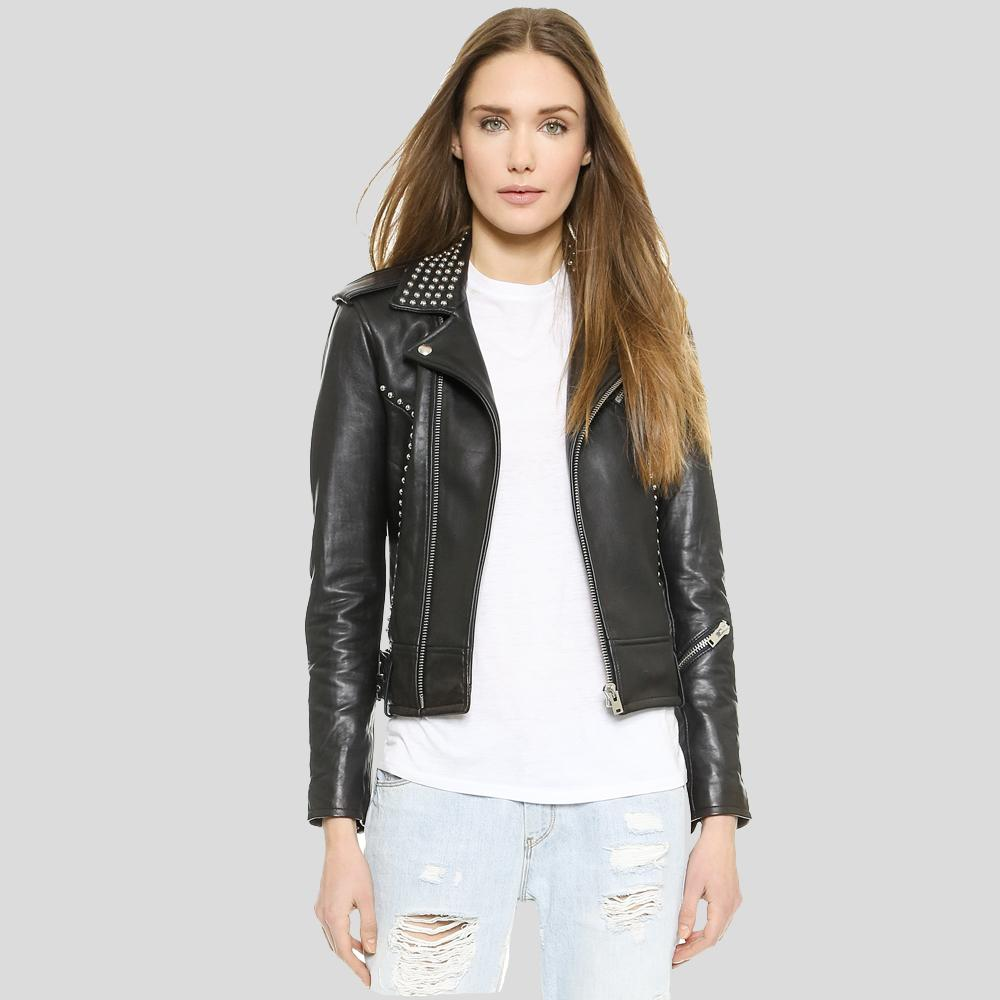 Carly Black Studded Leather Jacket 1