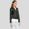 Carly Black Studded Leather Jacket 3