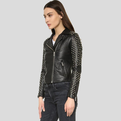 Harmoni Black Studded Leather Jacket 4