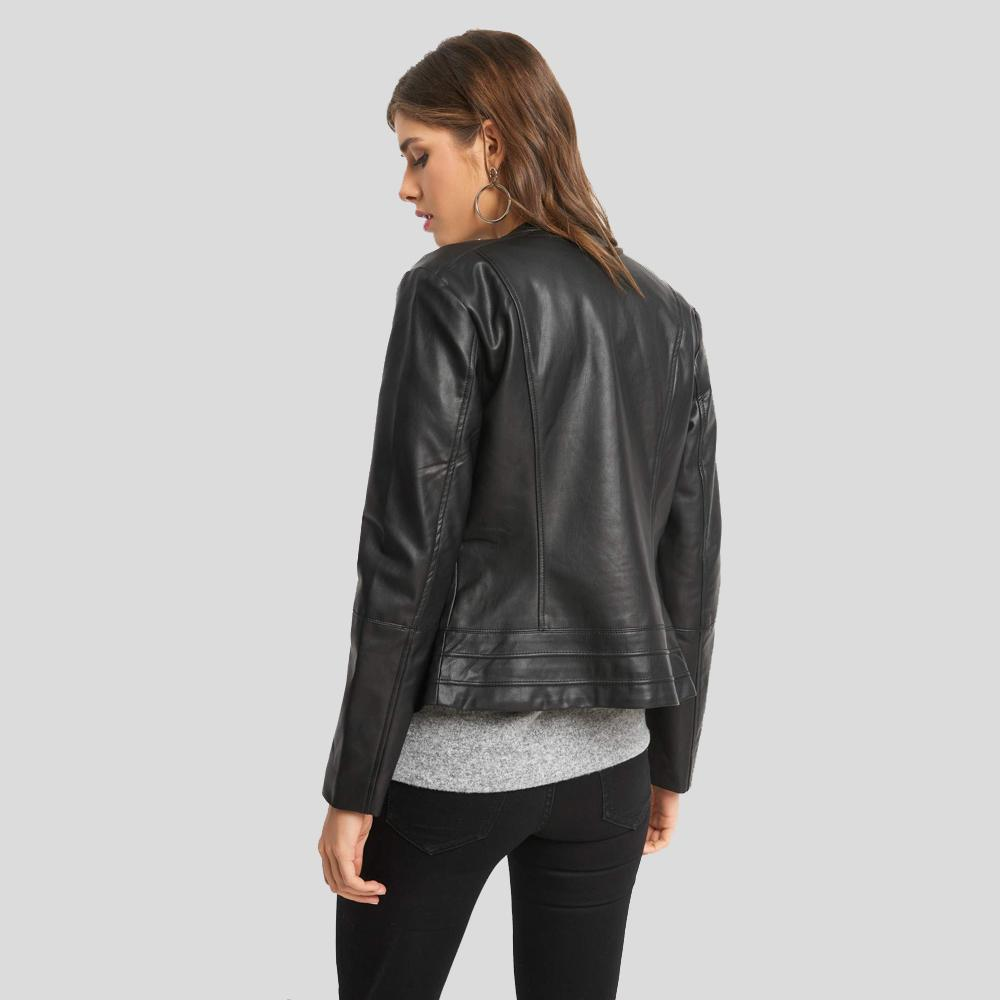 Imani Black Biker Leather Jacket 1
