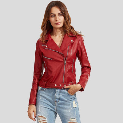 Julieta Red Biker Leather Jacket 2