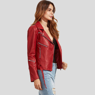 Julieta Red Biker Leather Jacket 3