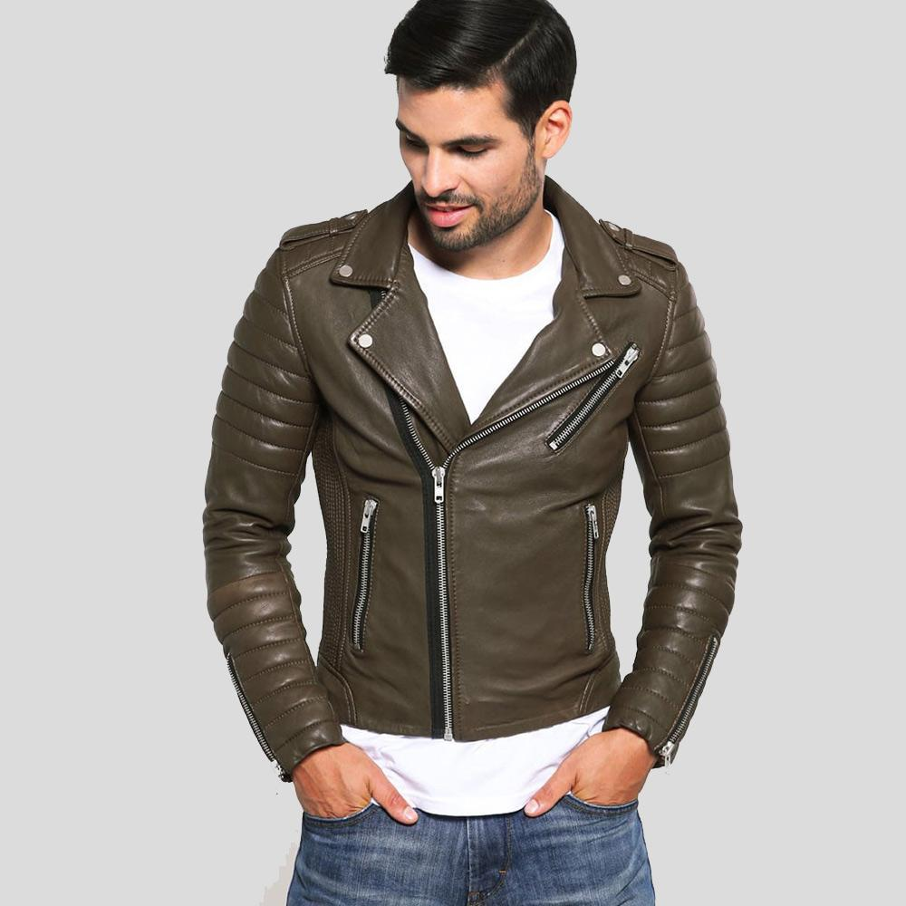 motorcycle leather jacket griffin brown 1