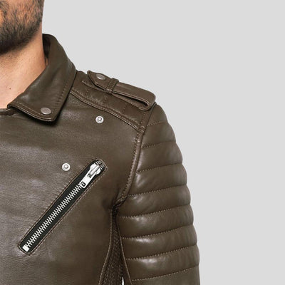 motorcycle leather jacket griffin brown 3