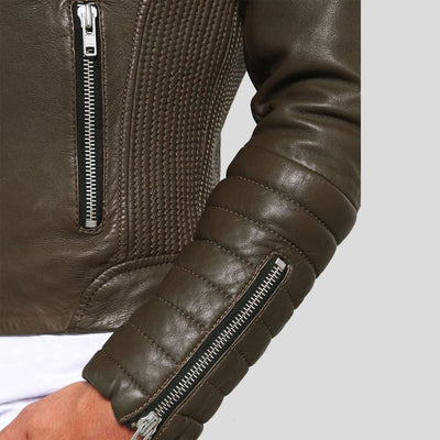 motorcycle leather jacket griffin brown 4