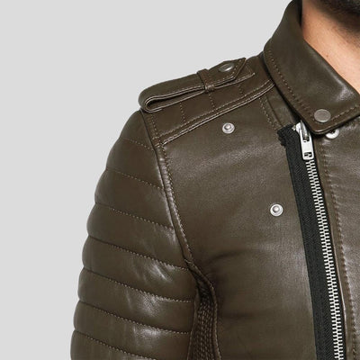 motorcycle leather jacket griffin brown 5
