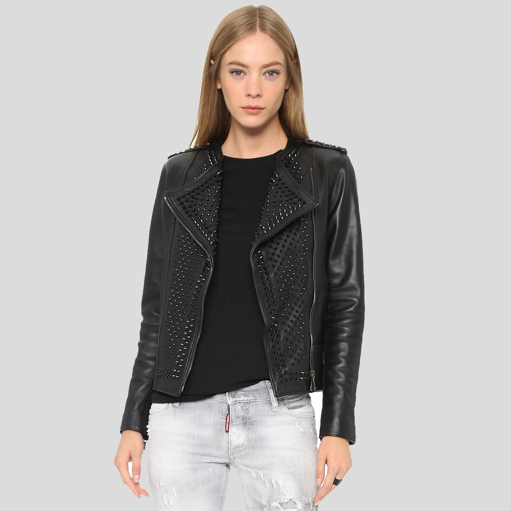 Tinsley Black Studded Leather Jacket 1