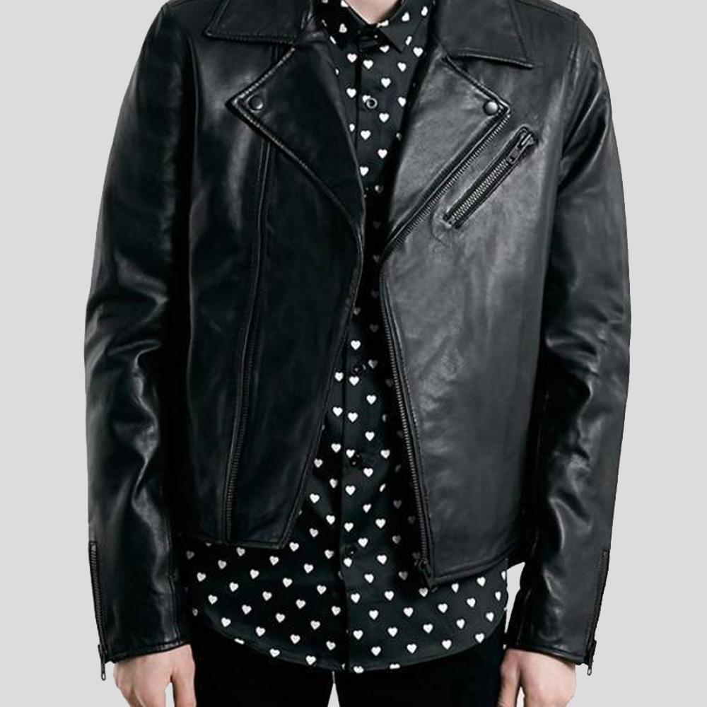 biker leather jacket bennett black 1