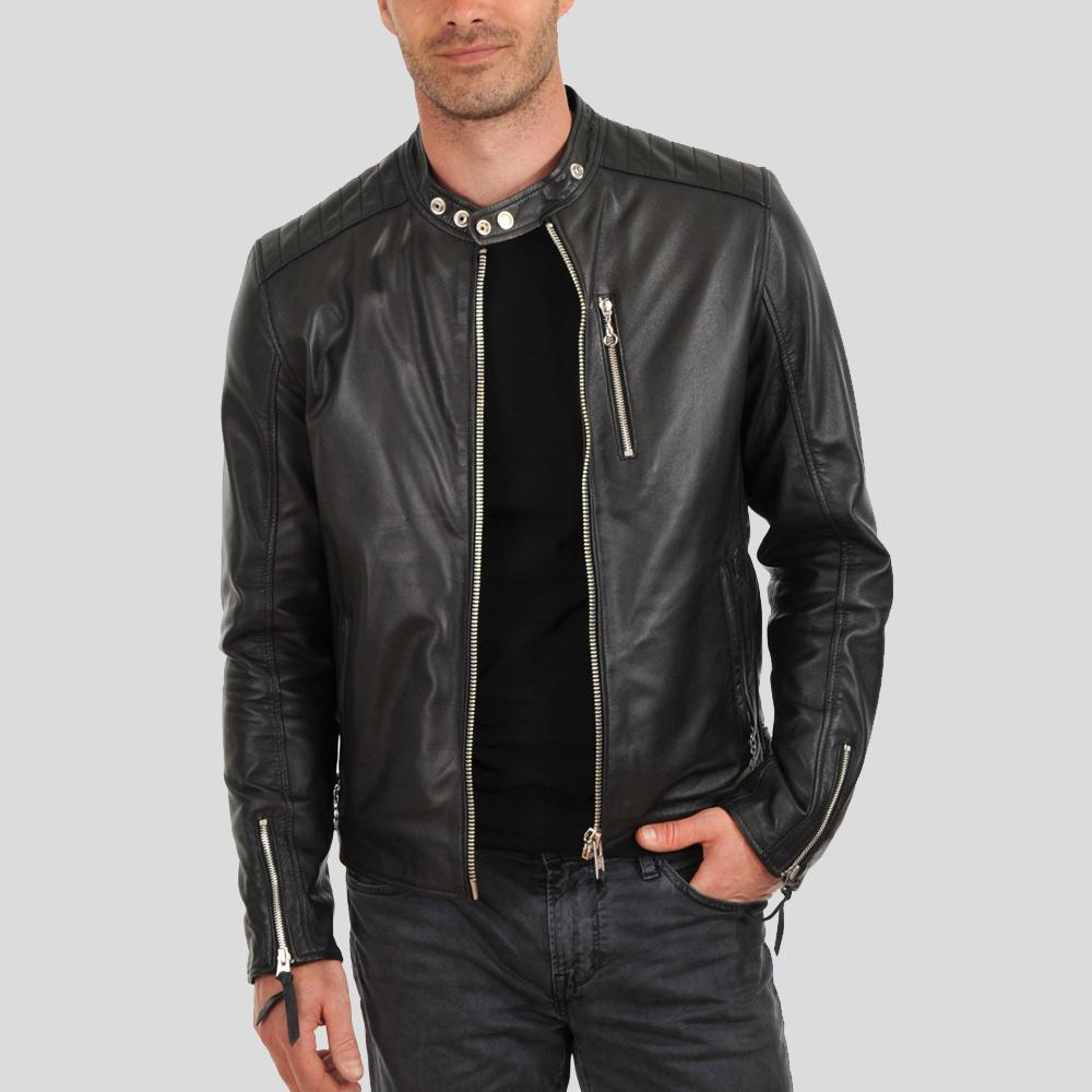braxton black biker leather jacket 1
