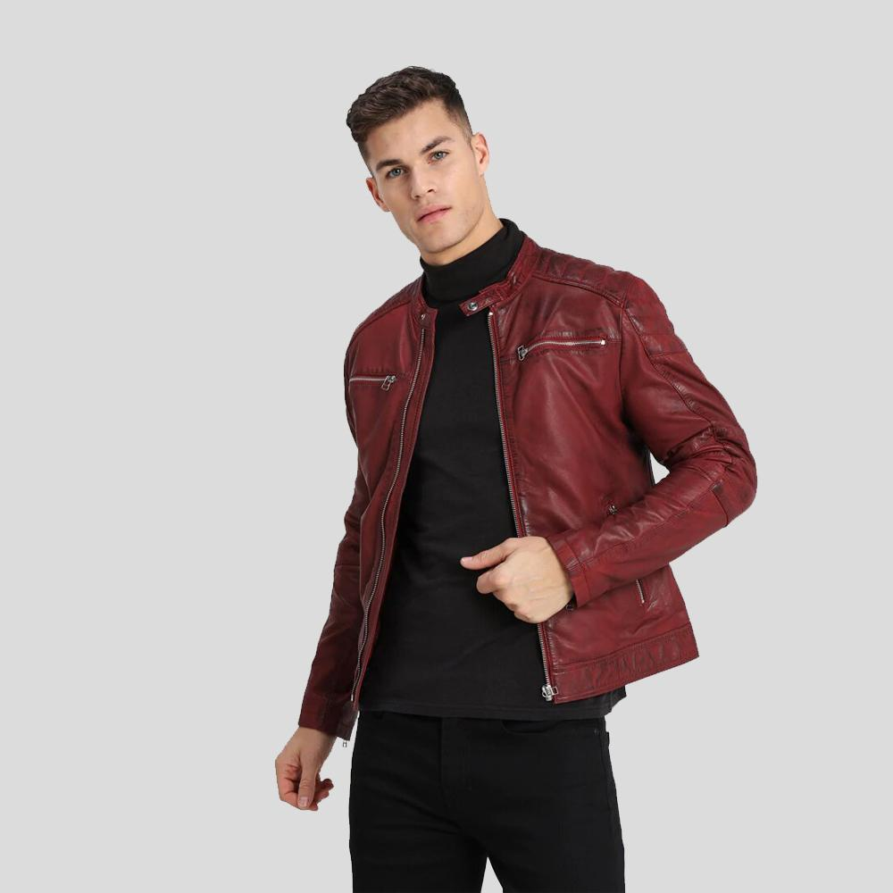 biker leather jacket bryce red 1