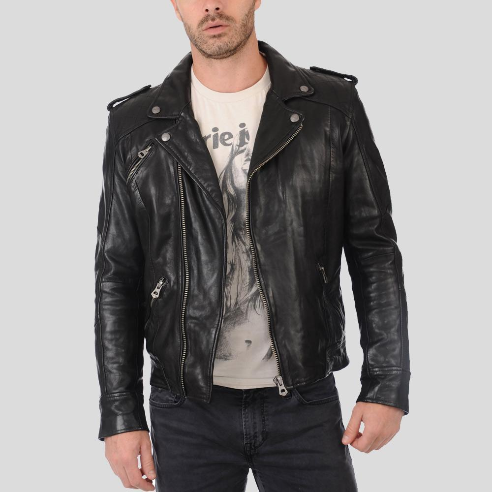 biker leather jacket charlie black 1
