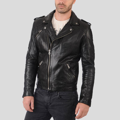 biker leather jacket charlie black 2