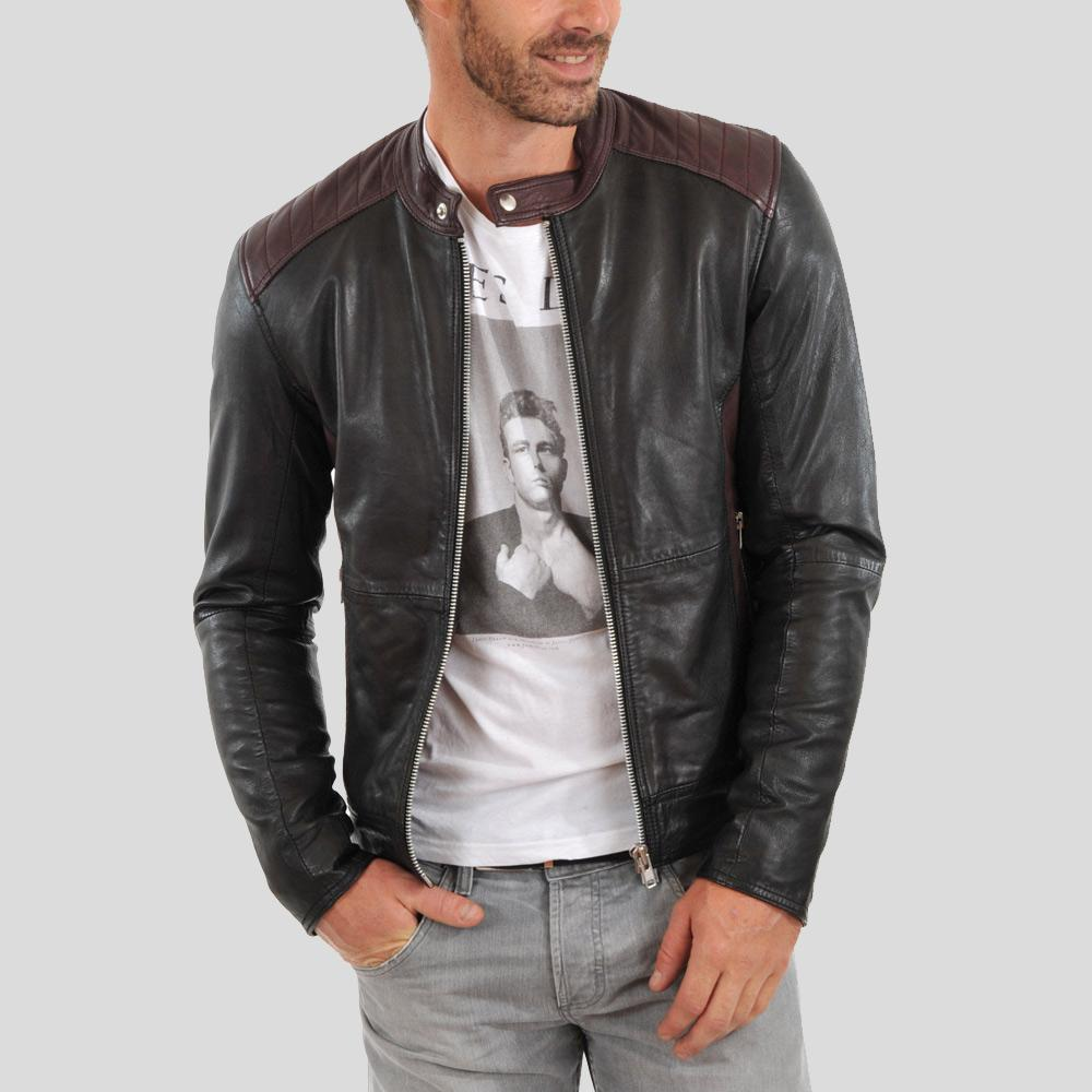 biker leather jacket george black 1