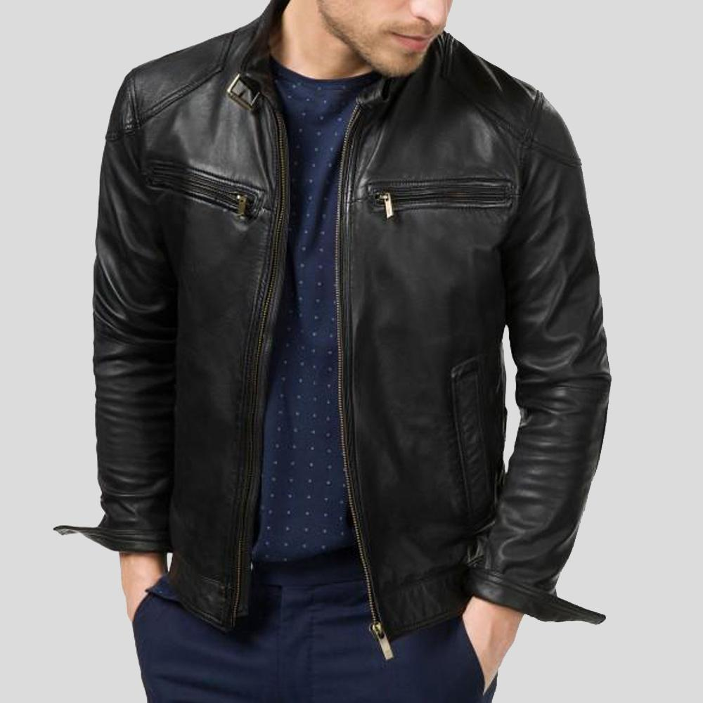 biker leather jacket giovanni black 1