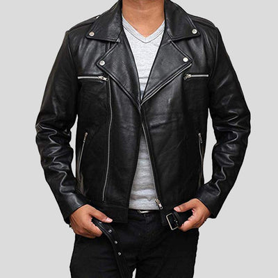 biker leather jacket henry black 2