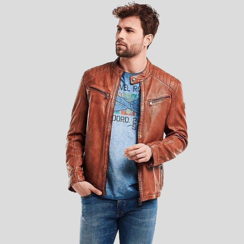 biker leather jacket ryker brown 1