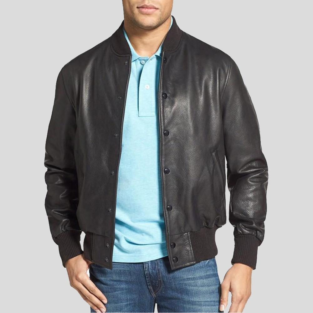black bomber leather jacket dean mens 1