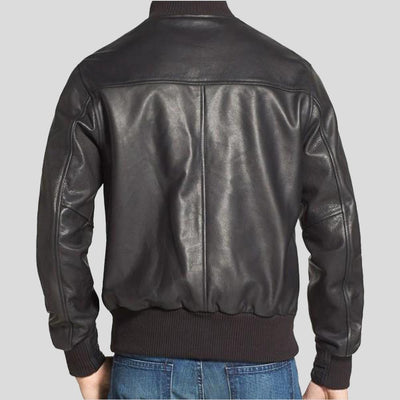 black bomber leather jacket dean mens 2