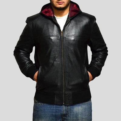 black bomber leather jacket brian mens 1