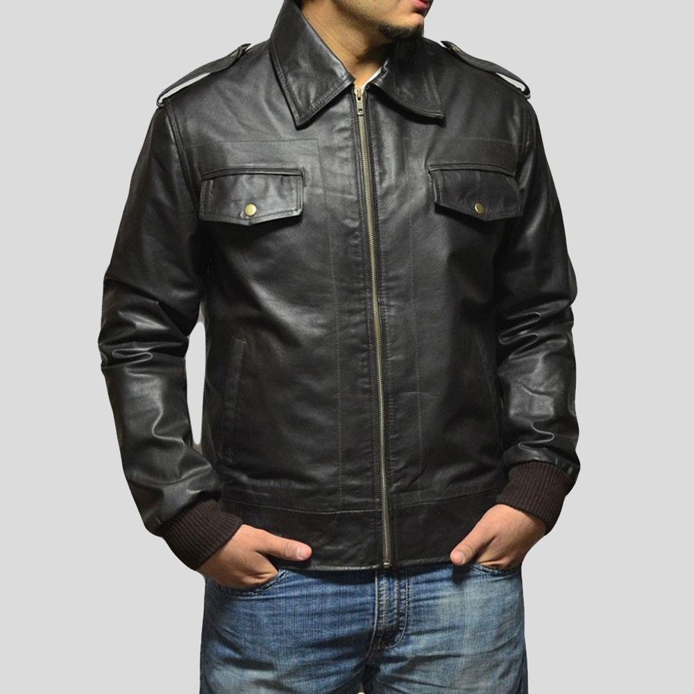 black bomber leather jacket caden mens 1
