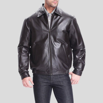 black bomber leather jacket finn mens 2