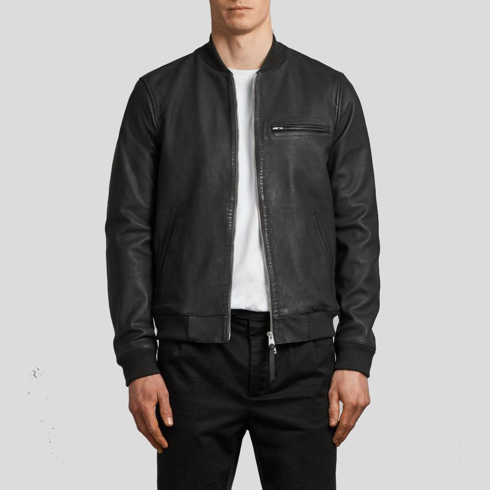black bomber leather jacket jasper men 1