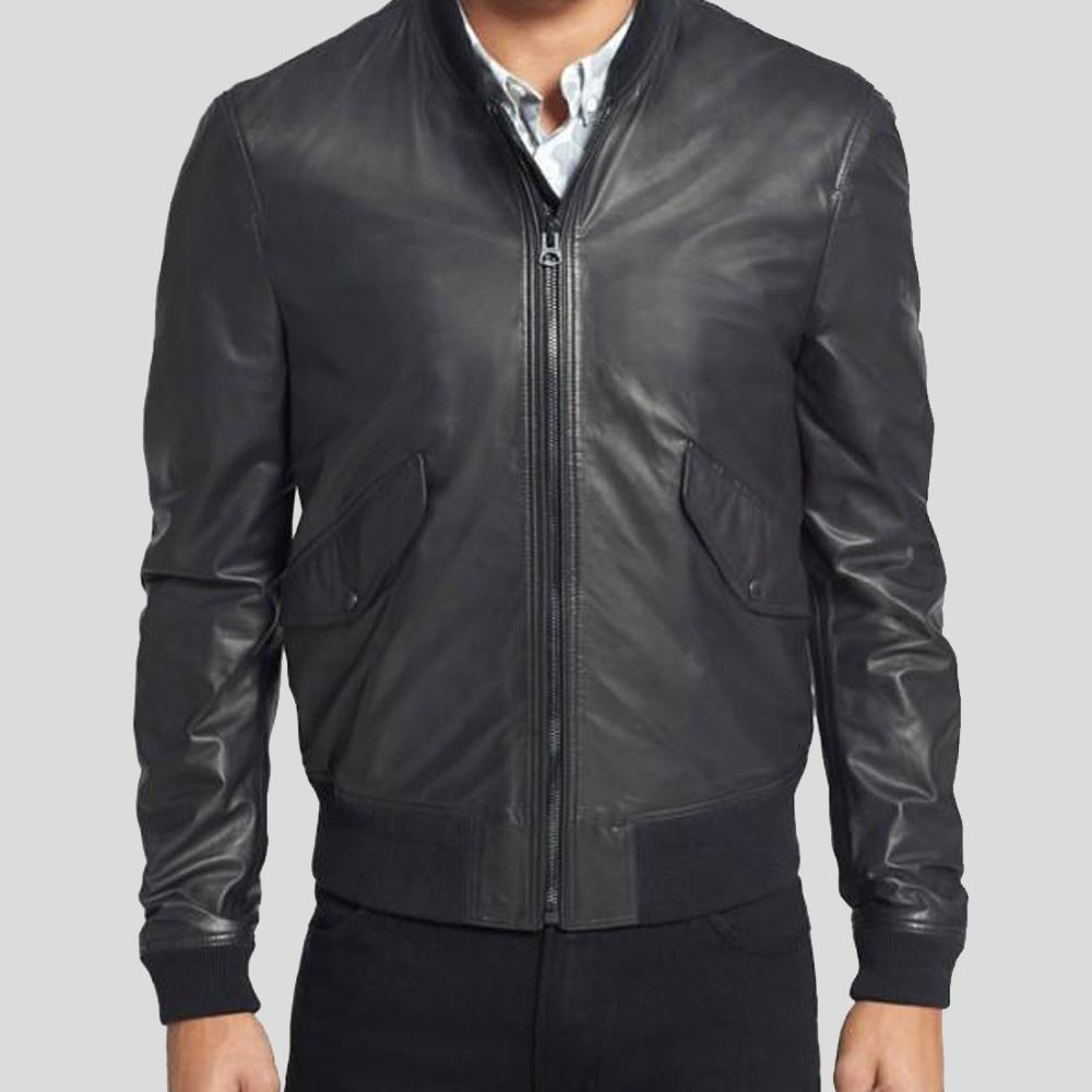black bomber leather jacket lorenzo men 1