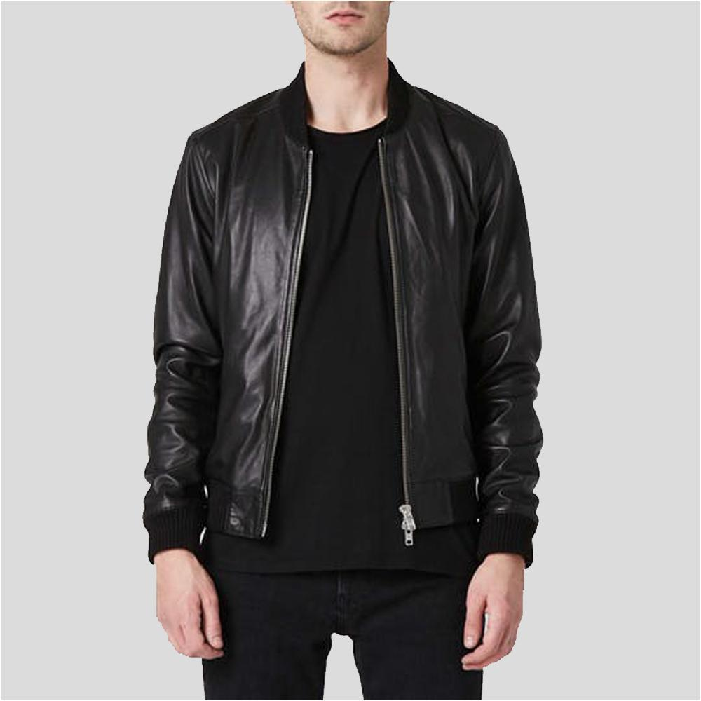 black bomber leather jacket mens andres 1