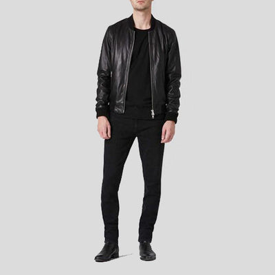 black bomber leather jacket mens andres 3