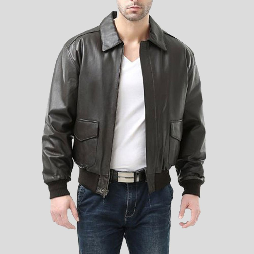 black bomber leather jacket peter mens 1