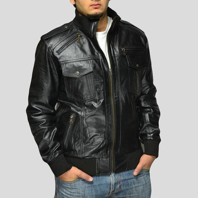 black bomber leather jacket river mens 2