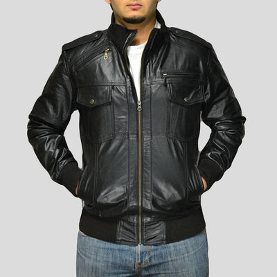 black bomber leather jacket river mens 1
