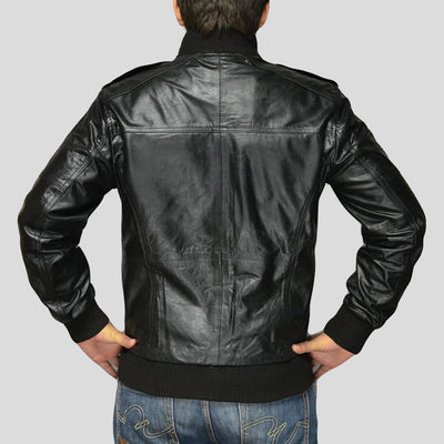 black bomber leather jacket river mens 3