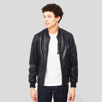 black bomber leather jacket james mens 1