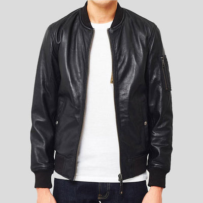 black bomber leather jacket james mens 2