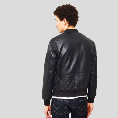 black bomber leather jacket james mens 3