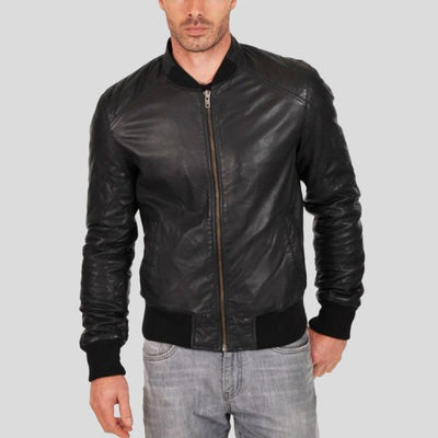 black bomber leather jacket jero mens 1
