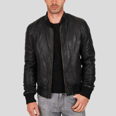 black bomber leather jacket jero mens 2