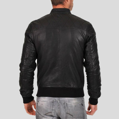 black bomber leather jacket jero mens 3