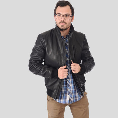 bomber leather jacket abel black 1