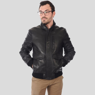 bomber leather jacket abel black 2