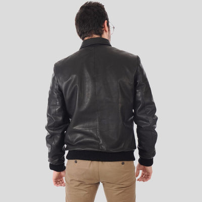 bomber leather jacket abel black 3