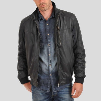 bomber leather jacket ashton black 3