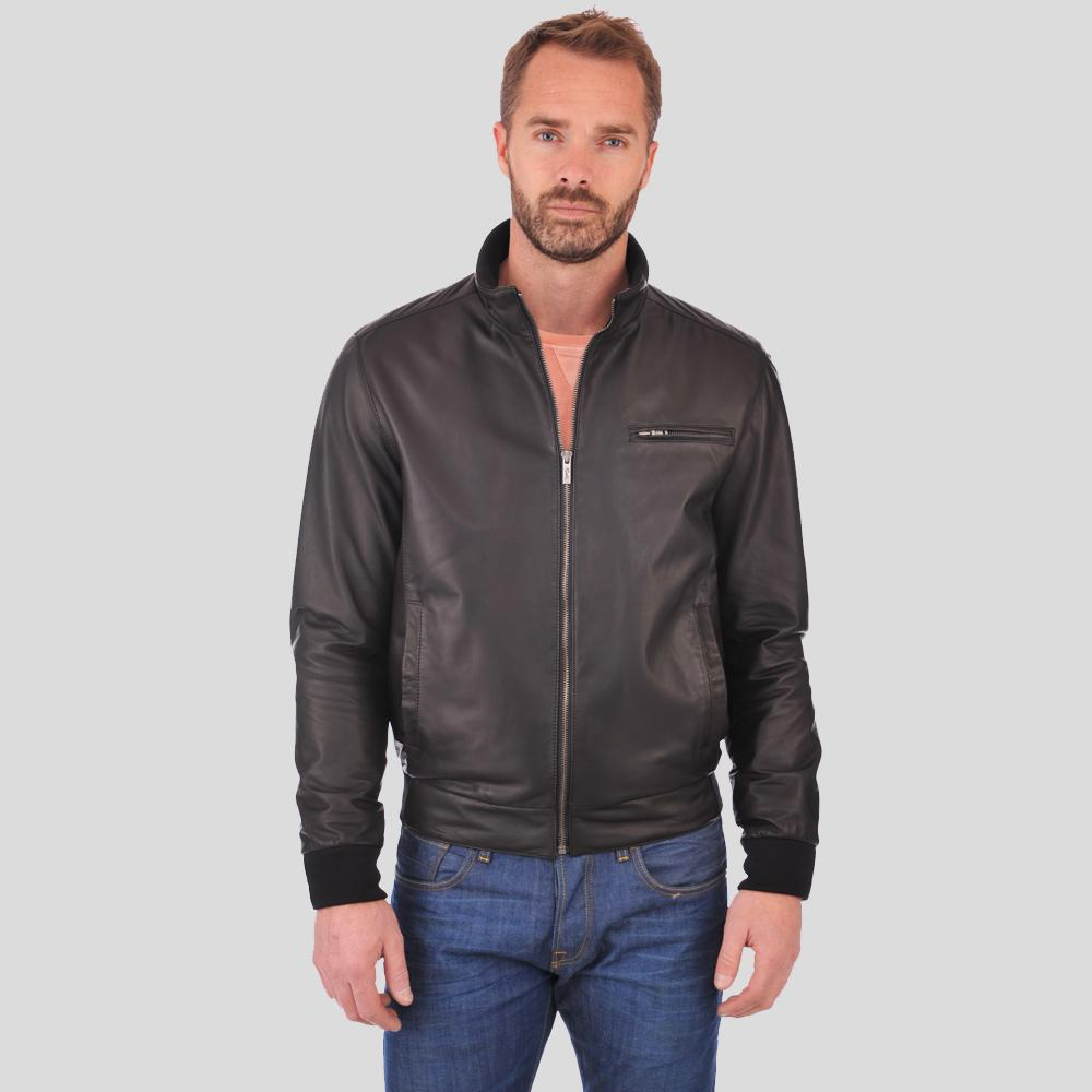 bomber leather jacket brody black 1