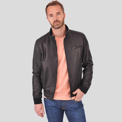 bomber leather jacket brody black 3