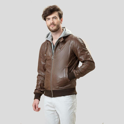 bomber leather jacket bryson brown 2