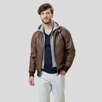 bomber leather jacket bryson brown 4