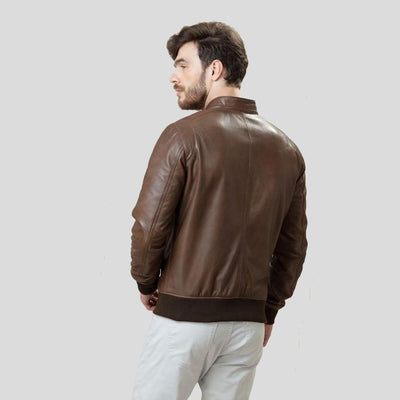 bomber leather jacket bryson brown 3