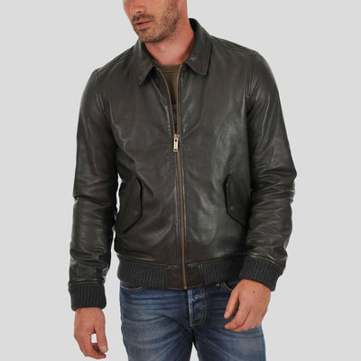 bomber leather jacket carlos black 3