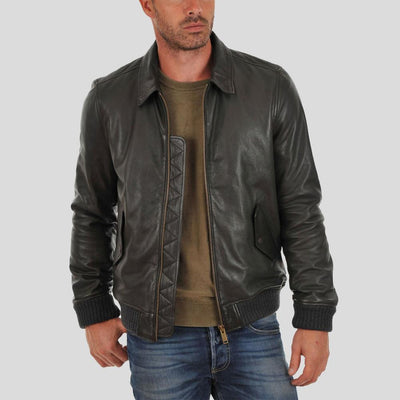 bomber leather jacket carlos black 1